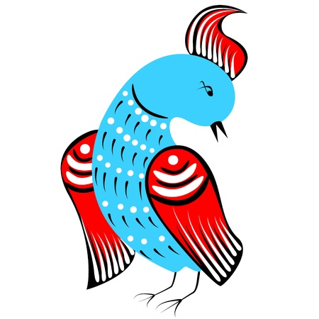 bird painted in traditional russian style Vector