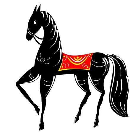folk russian painting horse Vector