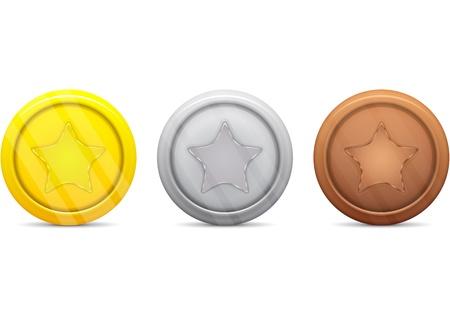 金・銀・銅メダル  イラスト・ベクター素材