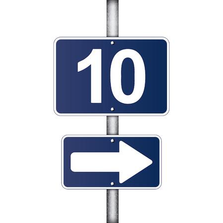 distance marker: ten kilometer sign Illustration