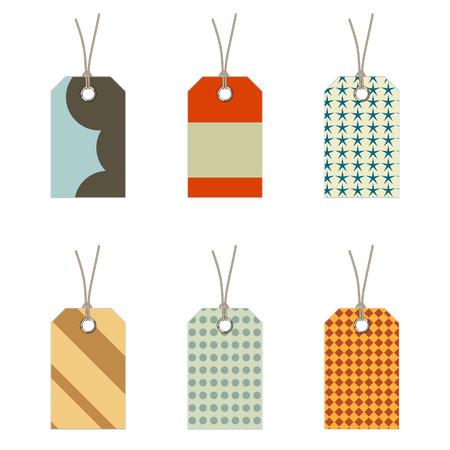 luggage pieces: labels set Illustration