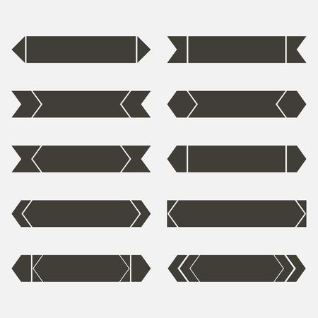 flat arrow set brown Vector