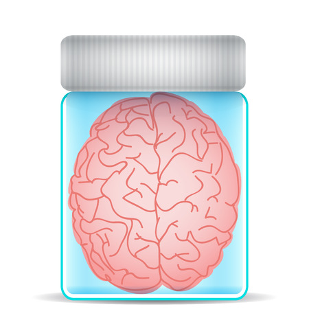 Brain in glass jar Vector