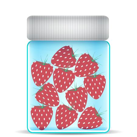 kitchen studio: strawberries in a glass jar Illustration