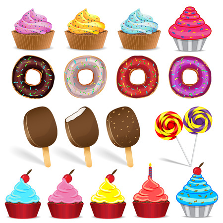 Set of ice cream cake donuts and candy Vector
