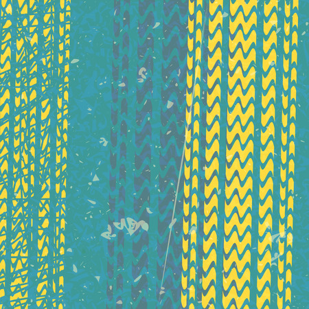 yellow tire tracks over blue background Vector