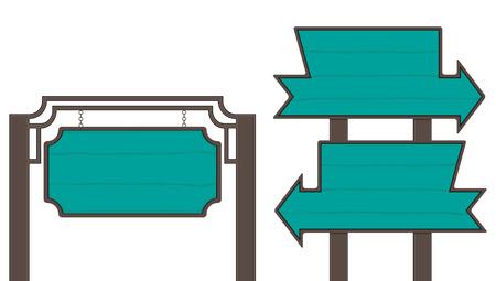 Wooden Sign-board set Vector