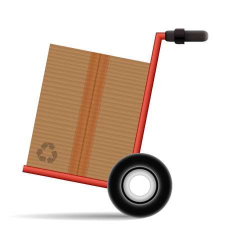 Hand Truck with a cardboard box on white background Vector