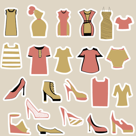 clothing and shoes stickers Illustration