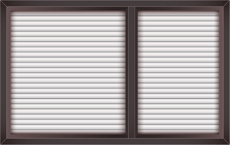 looking through an object: brown window with opened blinds