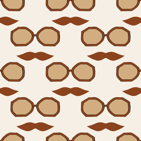 Seamless glasses and mustache pattern Vector