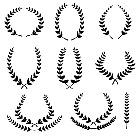 Set from black laurel wreath on the white background