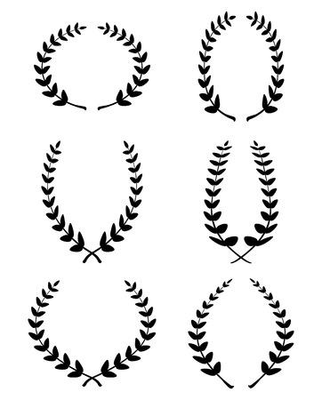 black wreath: Set from black laurel wreath on the white background