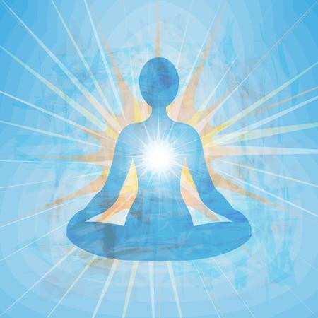 tantric: Meditating blue silhouette