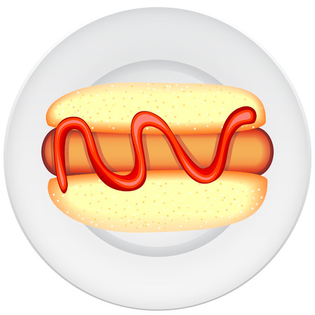 plate: hot dog on a plate