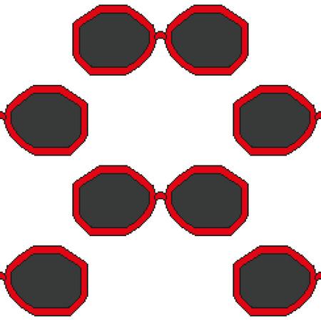 rim: pixel art sunglasses with red rim seamless pattern