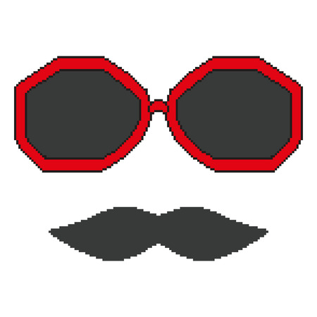 Pixel hipster glasses and mustache