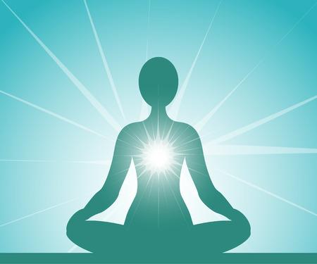 Meditating blue silhouette