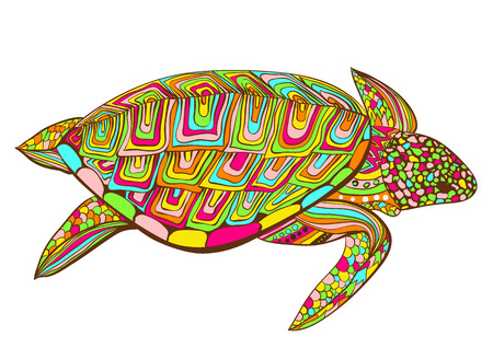 Turtle in zentangle zenart doodle style, isolated on white background. Hand drawn sketch for adult antistress coloring page,  or tattoo with doodle, zen, line and dot design elements.