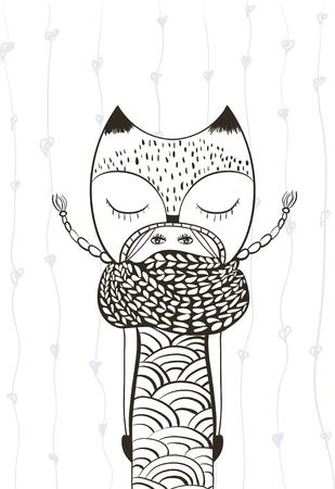 outline cute girl in foxy coat, knitted scarf, hand drawn doodle, zentangle, zen