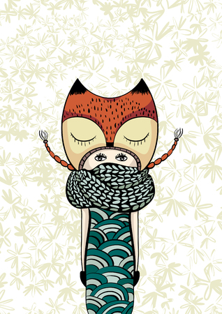 colorful cute girl in foxy coat, knitted scarf, hand drawn doodle, zentangle, zen