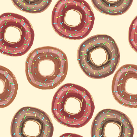 Vector seamless pattern with colorful donuts with glaze and sprinkles on a white background