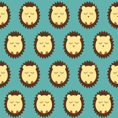 Hedgehog seamless pattern flat. blue background. vector illustration