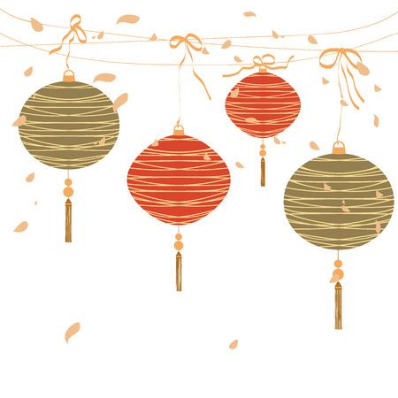 Chinese lanterns. red lantern on white. vector illustration Illustration