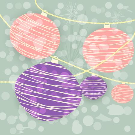 Chinese lanterns background. red purple. vector illustration