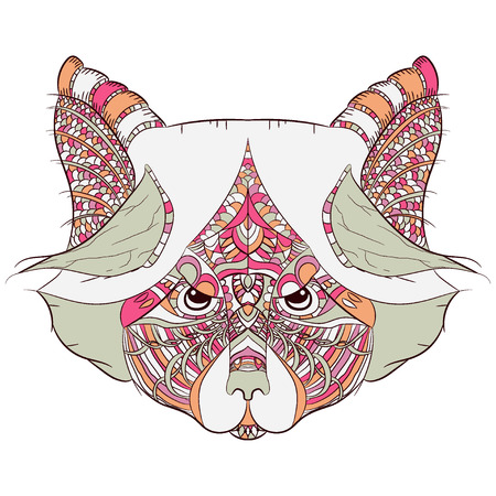 colorful colored Raccoon. Hand drawn in doodle, zenart style. zentangle. isolated on white