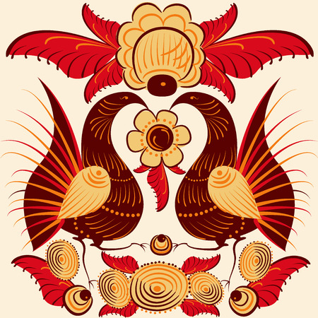 colorful bird, cockerel, Russian folklore. vector illustration Illustration