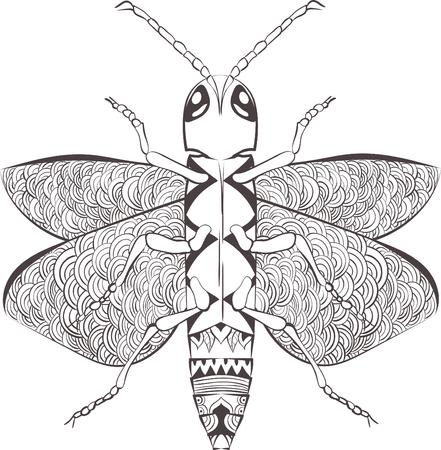 Estilizada Insecto Escarabajo De La Historieta, Aislado Sobre Fondo ...