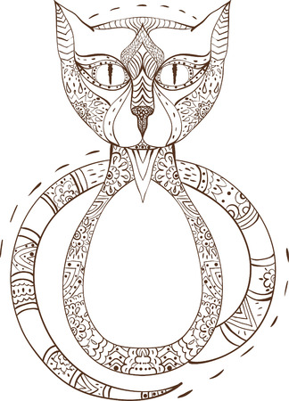 Cat sitting zentangle stylized, vector, illustration, pattern, freehand pencil, hand drawn. Zen art doodle style