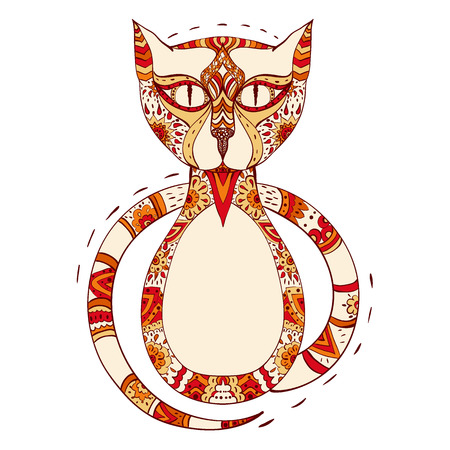 colorful cat stylized in zentangle. vector illustration isolated on white. hand drawn. Zen art doodle style