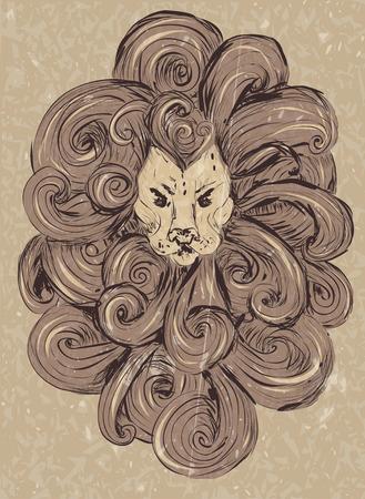 Lion head illustration. stylized, grunge style. vector lion tattoo