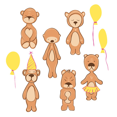 illustration of bear in different pose. birthday style. isolated on white Illustration