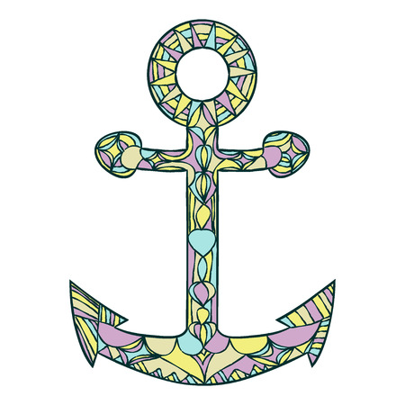Colored Anchor hand drawn. doodle vector illustration. Zentangle style. vector illustration on white background