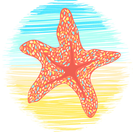 colorful Starfish on sea and sand background. spotted vector illustration Illustration