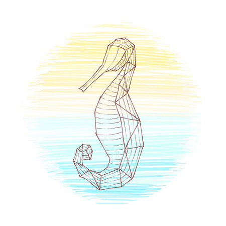 seahorse on sea round background. doodle outline. hand drawn