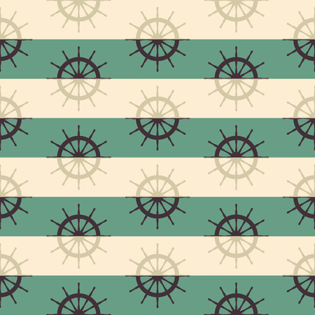 ship helm seamless pattern on striped background. vector illustration