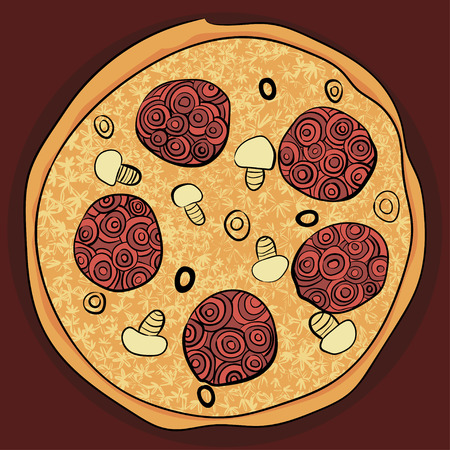 colorful whole pizza in doodles, zenart style. hand drawn food Illustration