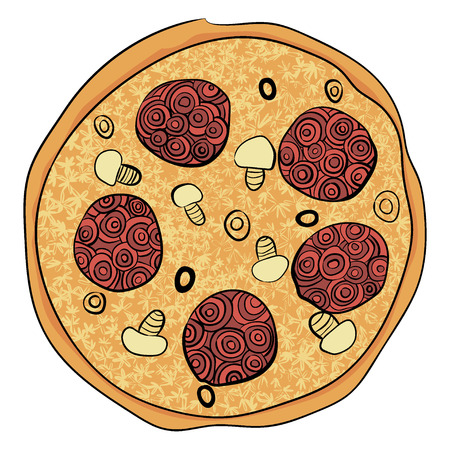 colorful whole pizza in doodles, zenart style. hand drawn food. isolated on white Illustration