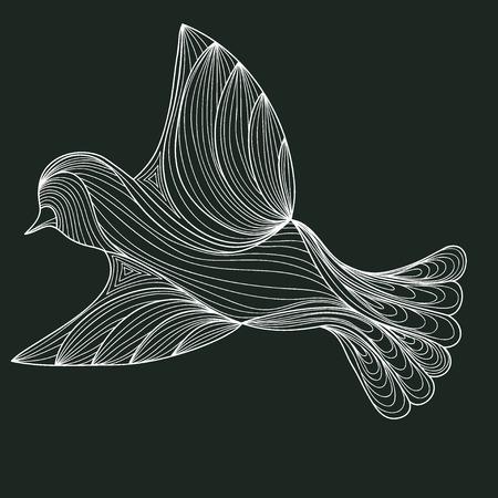 White bird on a dark background. contour of the lines. zenart stylized. doodle outline Illustration