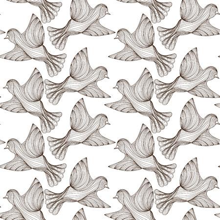 seamless pattern of line birds. vector illustration. dark outline on white background
