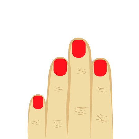 womans hand four fingers with manicure. red manicure, short nails. gray background. vector illustration Illustration