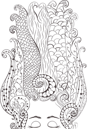 Woman. hand drawn in doodle, zenart style. Coloring page - zendala, design for meditation, vector illustration, isolated on a white background. Zen doodles. Illustration
