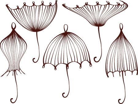 set of stylized umbrellas. geometric outline. line work isolated on white background.