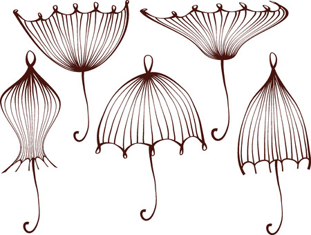 set of stylized umbrellas. geometric outline. line work isolated on white background.