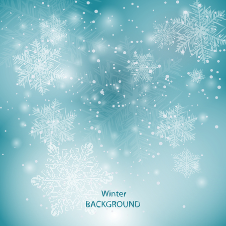 winter blurred background with beautiful snowflakes 矢量图像