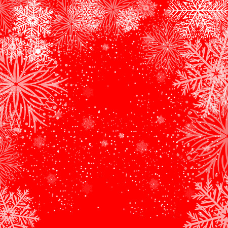 White snowflakes on red. Winter background